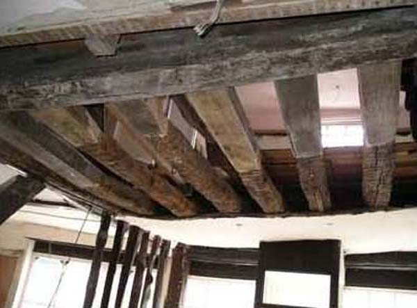 The new timber was contoured to match the distressed look of the original timbers.